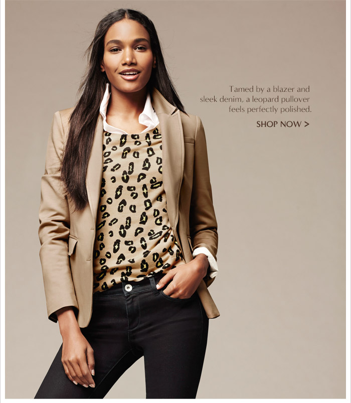 Tamed by a blazer and sleek denim, a leopard pullover feels perfectly polished. | SHOP NOW