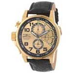 Invicta 14475 Men's I Force Lefty Gold Dial Gold Tone Steel Leather Strap Chronograph Watch