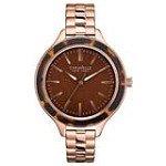 Caravelle 44L128 Mens New York Brown Dial Rose Gold Steel Bracelet Quartz Watch