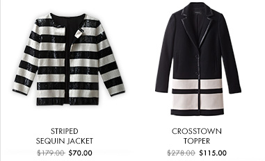 Striped Sequin Jacket $70.00  Crosstown Topper $115.00