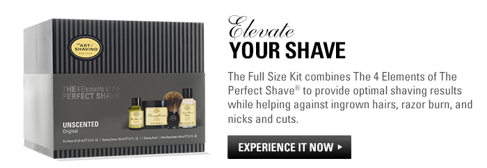 Elevate your shave. The Full Size Kit combines The 4 Elements of The Perfect Shave to provide optimal shaving results while helping against ingrown hairs, razor burn, and nicks and cuts. Experience it now