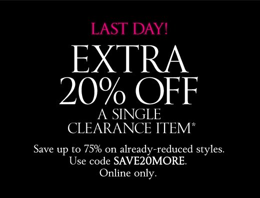 Last Day! Extra 20% Off a Single Clearance Item