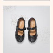 Black Glitter Tiny TOMS Mary Janes