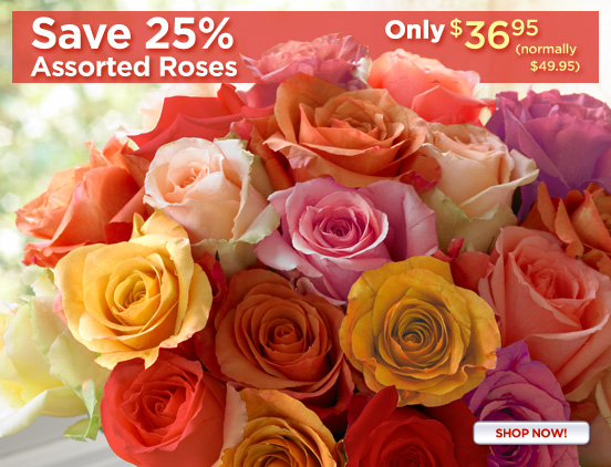 Save 25% On Assorted Roses