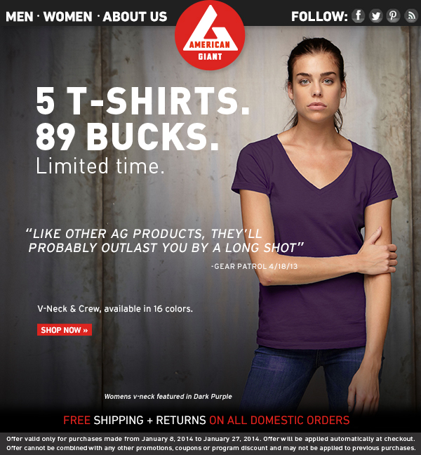 Women's T-Shirts: 5 for $89. Available Now.