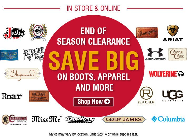 End Of Season Clearance - Save Big On Boots, Apparel, and more