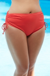 Plus Size Swimwear - Beach House Separates High Waist Side Tie Brief #42013  - $49 Coral