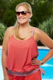 Women's Plus Size Swimwear - Beach House Separates First Mate Side Tie Blouson Tankini Top