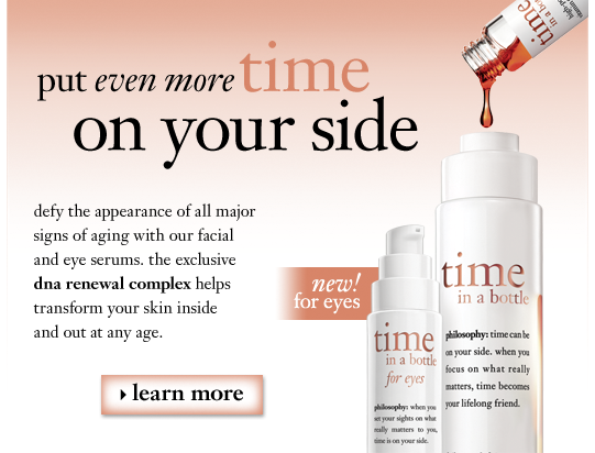 put even more time on your side defy the appearance of all major signs of aging with our facial and eye serums. the exclusive dna renewal complex helps transform your skin inside and out at any age.