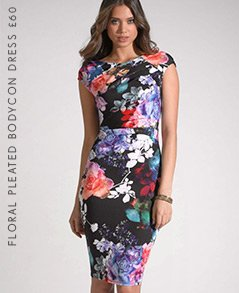 Floral Pleated Bodycon Dress