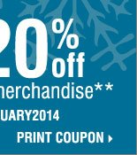 Winter Sale and Clearance ENDS TODAY! Save  up to an extra 20% off sale price merchandise** Print coupon.