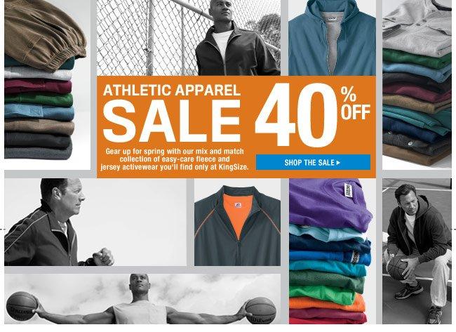athletic apparel sale - 40 percent off - shop the sale