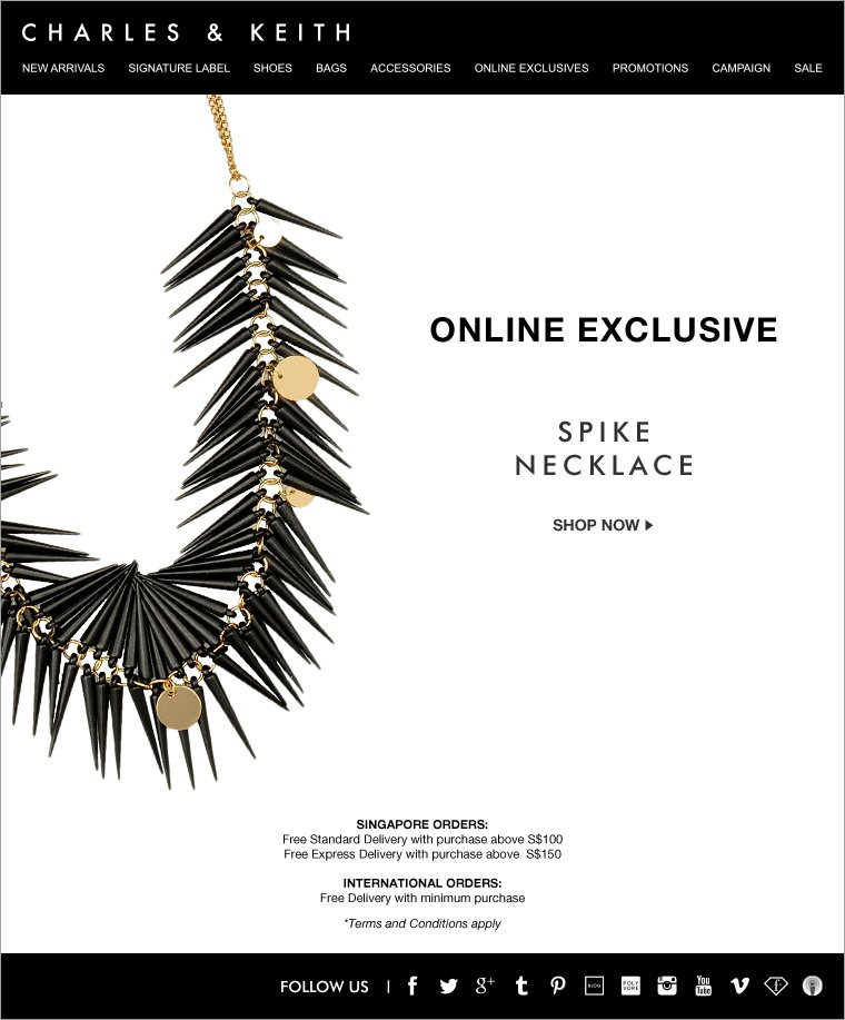Charles & Keith Online Exclusive Spike Necklace
