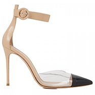 GIANVITO ROSSI - Pointed leather and perspex pumps