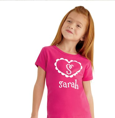 personalized doily heart tee