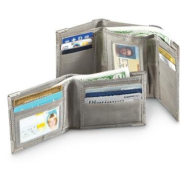 Diamond-plated Stainless Steel Bi-fold or Tri-fold Wallet