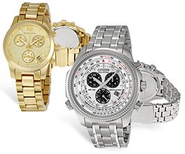 Citizen Perpetual Calendar Eco-Drive Men's Watch and Michael Kors Gold-tone Chronograph Ladies Watch