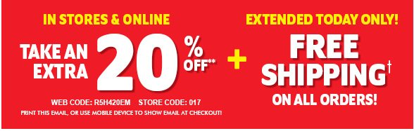 Take An Extra 20% off Everything + Free Shipping!