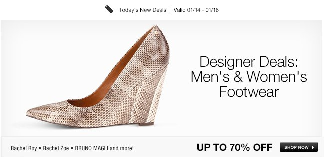 Designer Deals: Mens and Womens Footwear