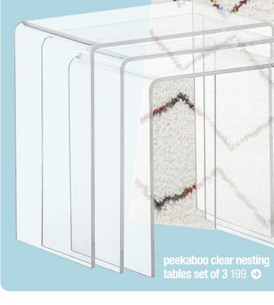 peekaboo clear nesting tables set of 3  199.