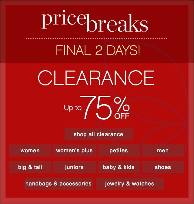FINAL 2 DAYS! Clearance up to 75% off