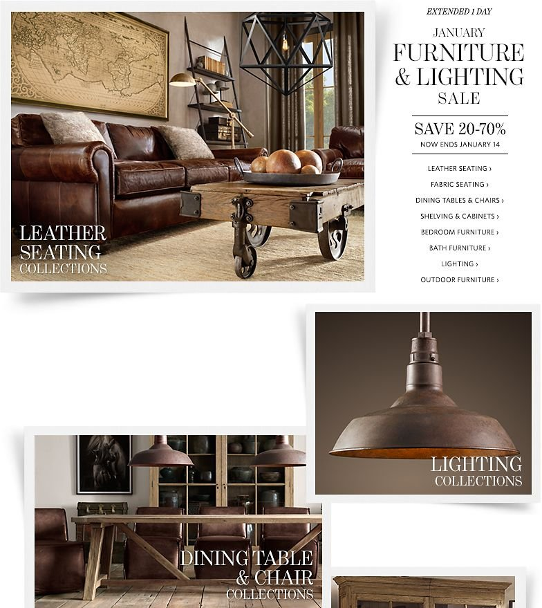 Extended 1 Day - January Furniture and Lighting Sale - Save 20-70%. Now Ends January 14