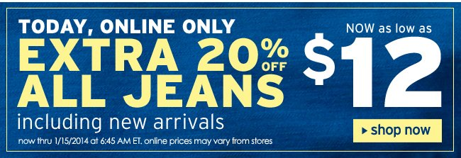 Extra 20% off jeans