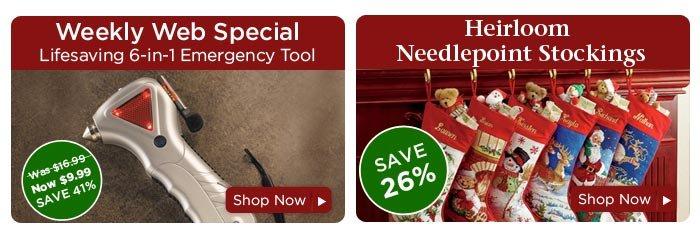 Lifesaving Emergency Tool & Heirloom Needlepoint Stockings