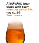 ÅTRÅVÄRD beer glass with stem | member price 99¢