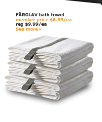 FÄRGLAV bath towel | member price $6.99/ea