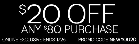 LIMITED TIME ONLY! Take $20 off any online purchase of $80 or more!
