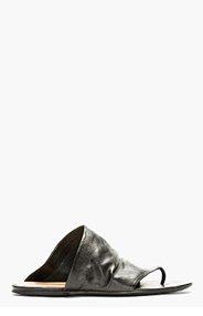 MARSÈLL Black Wrinkled Leather Sandals for men