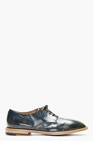 MARSÈLL Dark Blue Distressed Leather Derbys for men