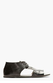 MARSÈLL Black Leather Cut-Out Shoes for men