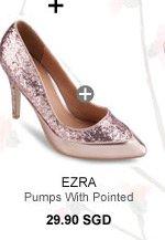 EZRA Glitter Metallic Pumps With Pointed Toe
