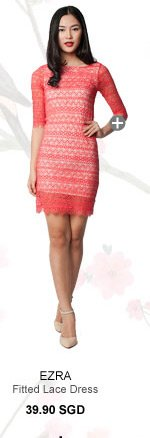 EZRA Short Sleeved Fitted Lace Dress