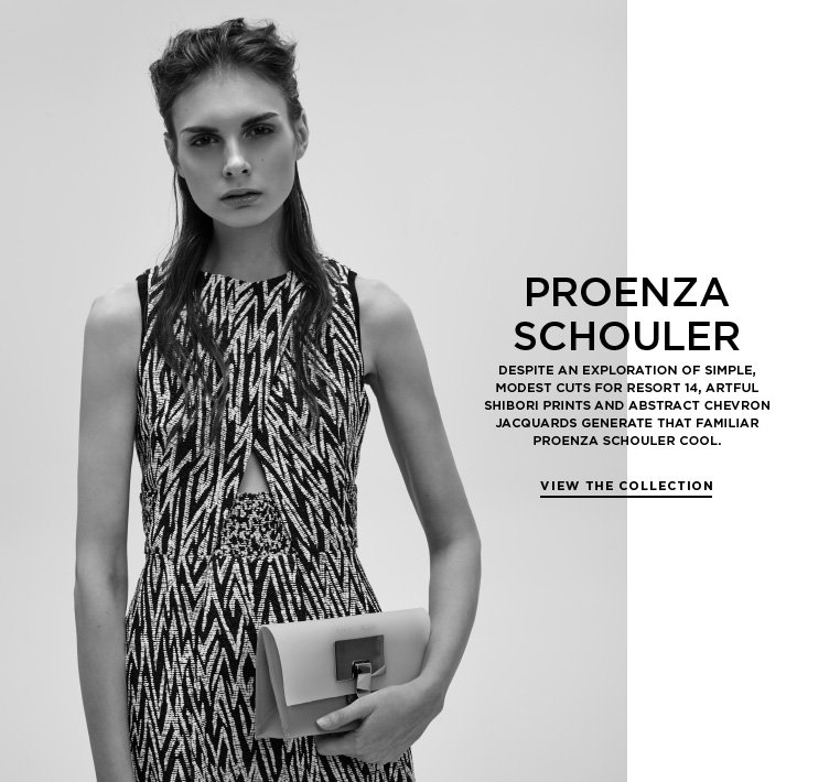 Printed matter from Proenza Schouler Despite an exploration of simple, modest cuts for Resort 14, artful Shibori prints and abstract chevron jacquards generate that familiar Proenza Schouler cool.