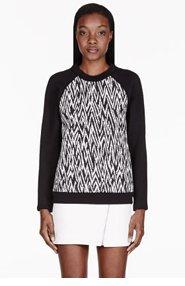PROENZA SCHOULER Black quilted Plaster jacquard Sweatshirt for women