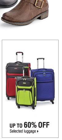 Up to 60% off selected luggage.