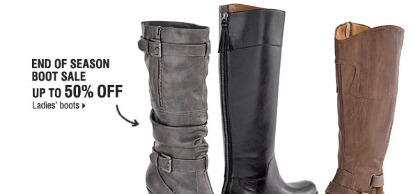 End of season boot sale - up to 50% off  ladies' boots.