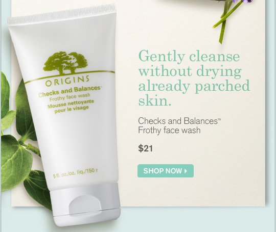 Gently cleanse without drying already parched skin Cjecks and Blances Frothy face wash 21 dollars SHOP NOW
