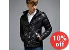 Hooded Wet-Look Padded Toggle Jacket