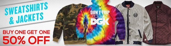 Sweatshirts + Jackets Buy One Get One 50% Off!