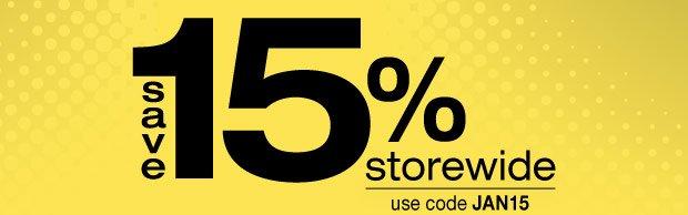 Save 15% Storewide — use code JAN15