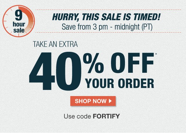 EXTRA 40% off with code FORTIFY