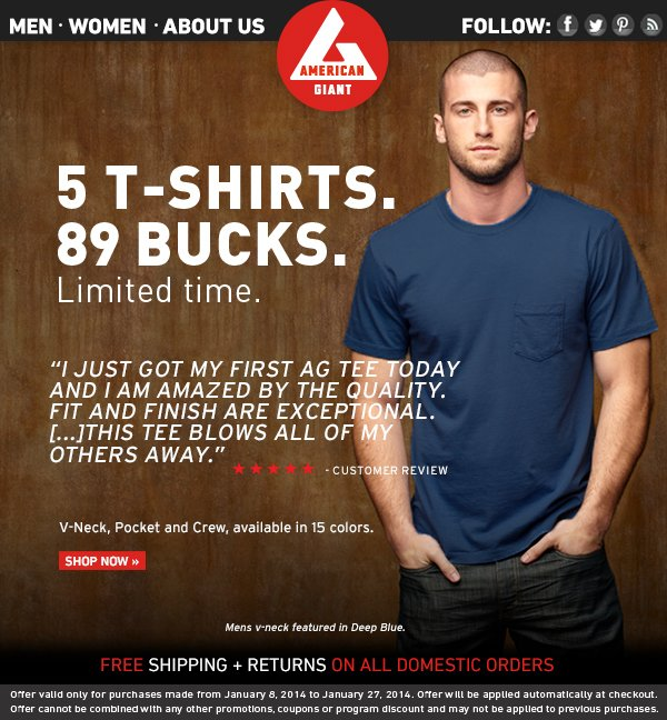 T-Shirts: 3 Styles. 5 for $89. Limited Time Only.