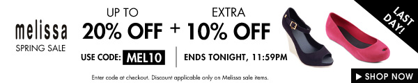 Last day: Get 10% off Melissa on top of markdowns!