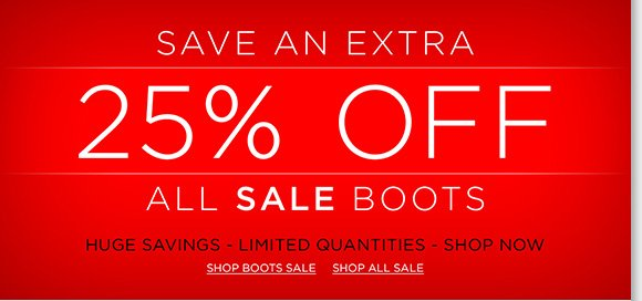 Now through Monday, save an extra 25% off ALL sale boots! Find great styles from UGG® Australia, Raffini, ABEO, Dansko and more of your favorite brands! Shop now to find the best selection online and in stores at The Walking Company. Hurry, quantities limited.