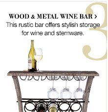 Wood & metal wine bar > This rustic bar offers stylish storage for wine and stemware.