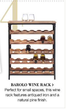 Barolo wine rack > | Perfect for small spaces, this wine rack features antiqued iron and a natural pine finish.